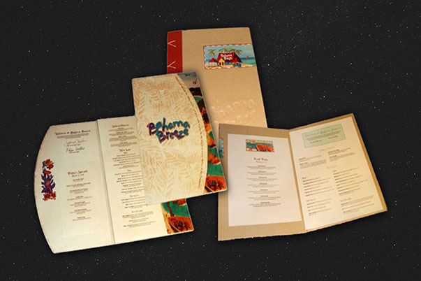 Bahama Breeze Menu Design by ewingworks.com