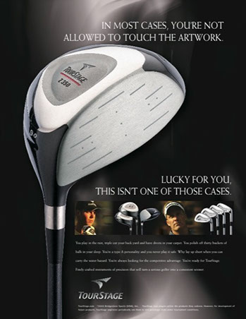 Precept Gold Clubs Ad by ewingworks.com