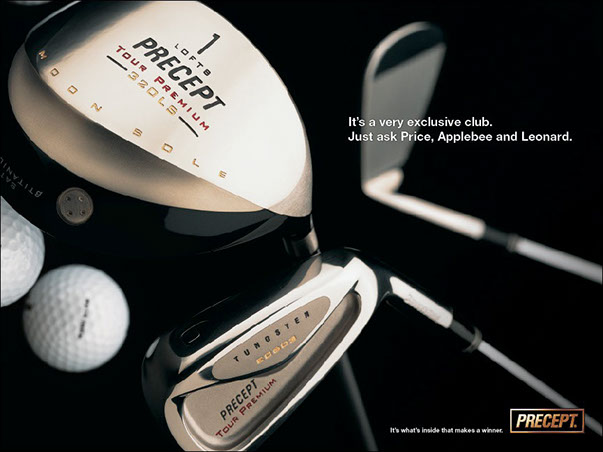 Precept Gold Clubs Ad-2 by ewingworks.com