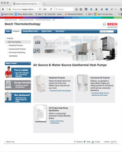 Bosch Geothermal HVAC Home page Website by Atlanta Website Design Companies, ewingworks.com