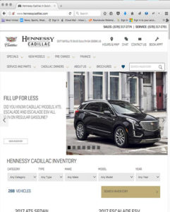 Hennessy Cadillac Website by Atlanta Website Design Companies, ewingworks.com