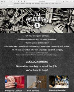 jk-locksmiths Website by Atlanta Website Design Companies, ewingworks.com